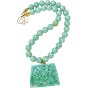 Carved Green Jade Fish and Lotus with Jade Necklace