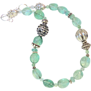 Green Fluorite Nugget with Vintage Silver Necklace