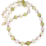 Kunzite, Faceted Pink Tourmaline Necklace