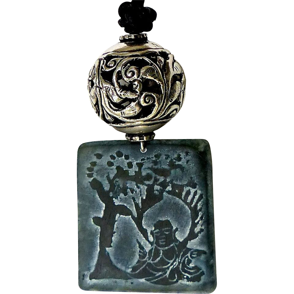 etched jade buddha the bodhi tree pendant necklace