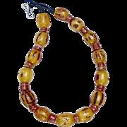 Vintage Ethiopian African Singed Amber, Old Raw Jasper Necklace