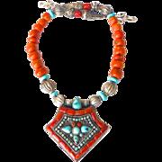 Antique Tibetan Gau Box, Old Tibetan Glass, Turquoise Necklace