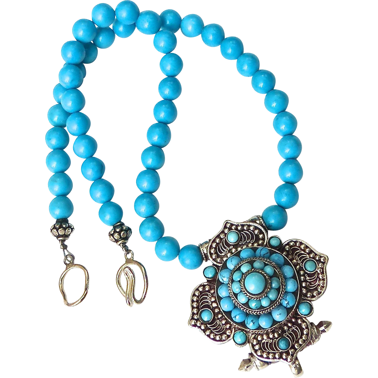 indian turquoise gau enhanced turquoise necklace from