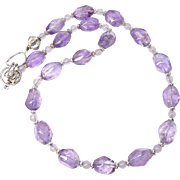 Purple Amethyst Nuggets, Silver Necklace