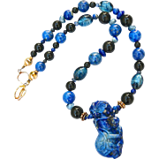 Lapis Monkey, Gourd, Lapis and Onyx Necklace