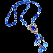 Antique Victorian Pendant , Blue Cobalt, Vintage Peking Glass, Swarovski Crystal Necklace