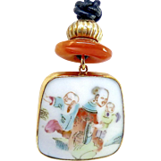 Chinese Qing Dynasty Porcelain Shard Pendant Necklace