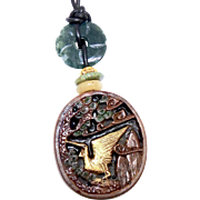 Chinese Boxwood Stork in a Pine Tree and Men in a Garden Pendant Necklace