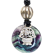 Antique Chinese Silver with Rainbow Fluorite Pendant Necklace