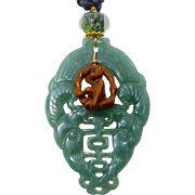 Carved Green Aventurine Double Phoenix, Boxwood Monkey on a Swing Pendant Necklace