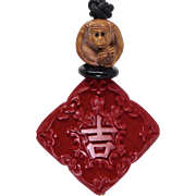 Red Cinnabar with Boxwood Monkey Pendant Necklace