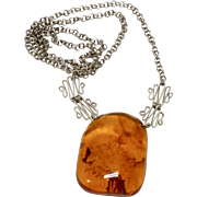 Vintage Baltic Amber on a Silver Chain