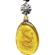 Etched Amber Glass Dragon Pendant Necklace