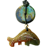Carved Serpentine Fish with Chinese Turquoise Pendant Necklace