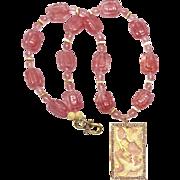 Carved Bone Storks, Pink Quartz Necklace