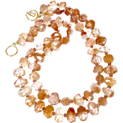 Faceted Peach Hematoid Quartz Nugget Necklace