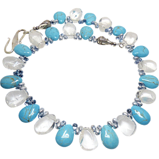 Clear Crystal Quartz Drops and Turquoise Magnesite Drop Necklace