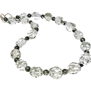 Large Faceted Clear Lodalite and Green Rutilated Quartz Nugget Necklace