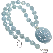 Carved Natural Blue Jade Baby Dragons, Aquamarine Necklace