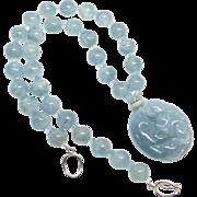 Carved Natural Blue Jade Baby Dragons, Aquamarine Necklace