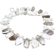 Silver Faceted Rutilated Quartz Nugget Necklace