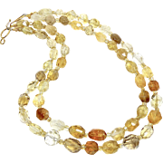 Faceted Golden Citrine Double Strand Necklace