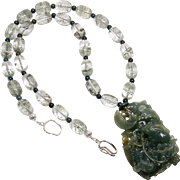 Carved Natural Spinach Green Jadeite Two Rabbits in a Basket, Lodalite Necklace