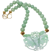 Hand Carved Natural Green Jadeite Butterfly, Green Aventurine Necklace