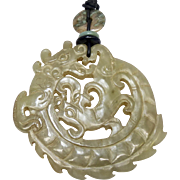 Vintage Natural Carved Nephrite Jade Double Dragon Pendant Necklace