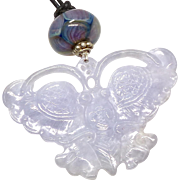Lavender Jade Butterfly Pendant Necklace - Red Tag Sale Item