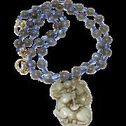Antique Carved Jade Deer with Labradorite an Kyanite Necklace