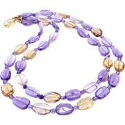 Gem Quality Ametrine Ovals and Faceted Ametrine Necklace