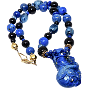 Blue Lapis Monkey on a Gourd with Lapis, Black Onyx and Faceted Kyanite Necklace