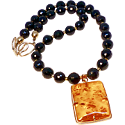 Vintage Baltic Amber, 14K Rose Gold Pendant with Faceted Black Onyx Necklace