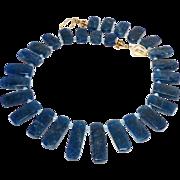Deep Peacock Blue Apatite Fancy Drop Necklace