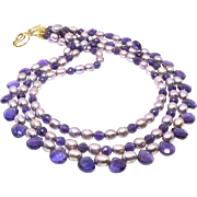 Faceted Purple Amethyst Teardrops, Dyed Rice Pearls Triple Strand Necklace