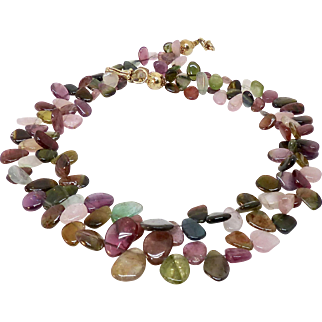 Exceptional Quality Multicolor Rainbow Tourmaline Double Strand Necklace