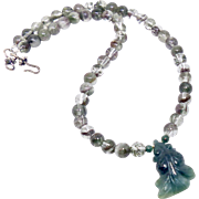 Carved Green Jade Fish, Lodalite Necklace