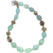 Green fluorite Nuggets, Vintage Silver Necklace