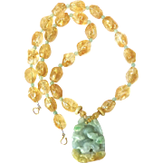 Carved Two Green Jade Deer with Golden Citrine Nuggets Necklace