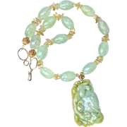 Carved Natural Green and Golden Jade Dragon, Green Rutilated Quartz Necklace
