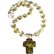 Natural Green Amber Cross, Faceted Golden Citrine Necklace