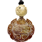 Carved Serpentine Jade with Carved Bone Rooster Pendant Necklace
