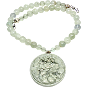 Carved Green Jade Dragon and Horse with Frosted Green Fluorite Necklace
