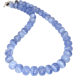 Large Natural Translucent Blue Chalcedony Bead Necklace