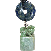 Vintage Carved Green Jade Chop with Fo Dog Pendant Necklace