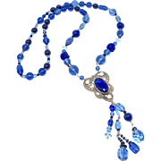 Antique Victorian Blue Pendant with Cobalt, Vintage Peking Glass and Austrian Swarovski Crystals Necklace