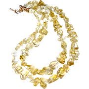 Faceted Golden Citrine Nugget Double Stranded Necklace
