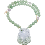 Carved Green and Lavender Jade Double Dragon, Green Aventurine, Amethyst Melon Bead Necklace