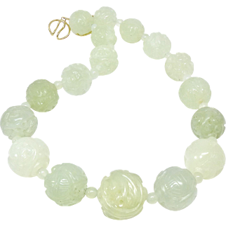 Large Carved Shou/Dragon Green Serpentine Jade Bead Necklace